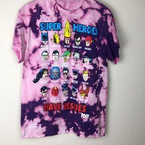 Custom bleach tie dye men's S DC Comics T-shirt